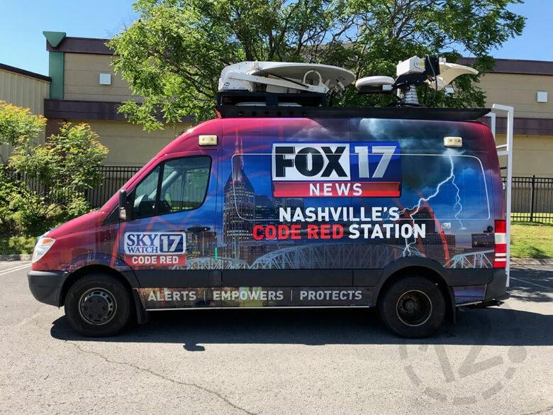 Custom vinyl wrap for WZTV Fox 17 in Nashville, TN printed and installed by 12-Point SignWorks.