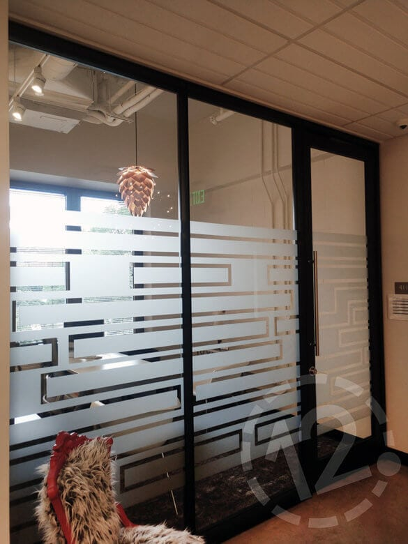 Etched window vinyl for Belmont University's O'More School of Design in Nashville, TN by 12-Point SignWorks.
