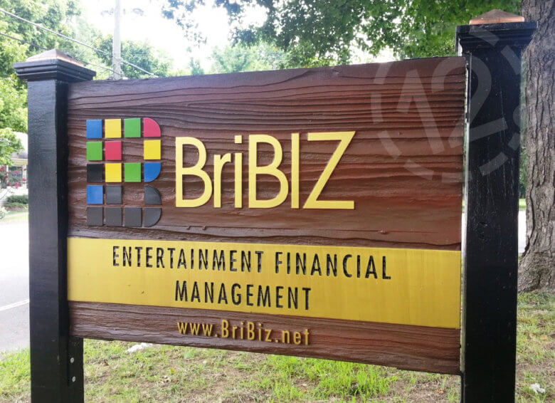 Dimensional post and panel sign for BriBiz Entertainment Financial Management by 12-Point SignWorks in Franklin, TN.