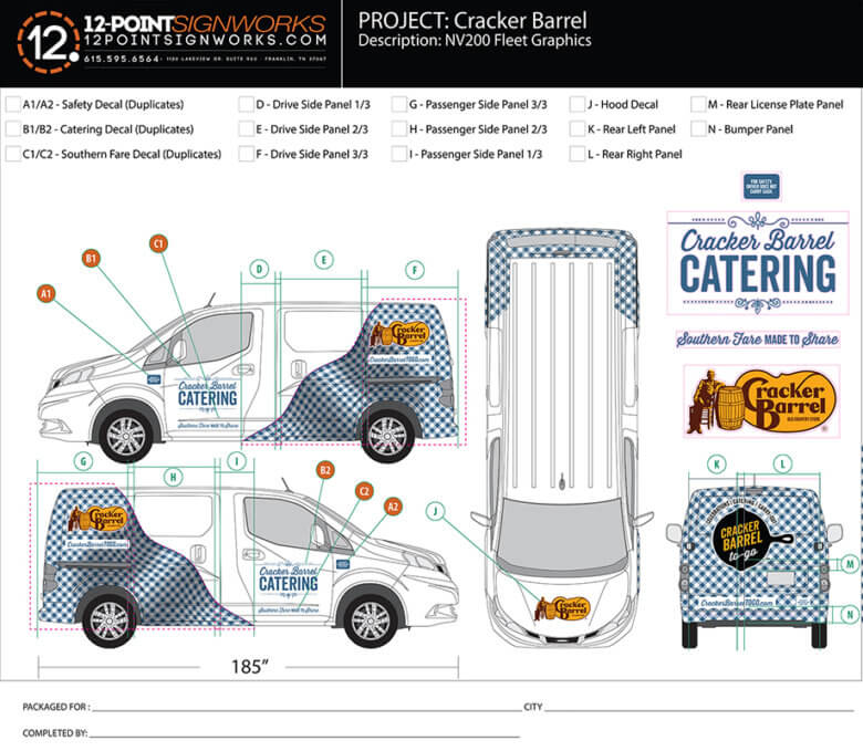 Proof of Cracker Barrel Catering Van Wrap by 12-Point SignWorks in Franklin, TN.