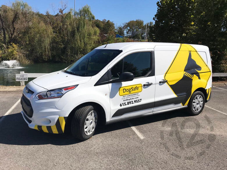 Partial van wrap for DogSafe by 12-Point SignWorks in Franklin, TN.