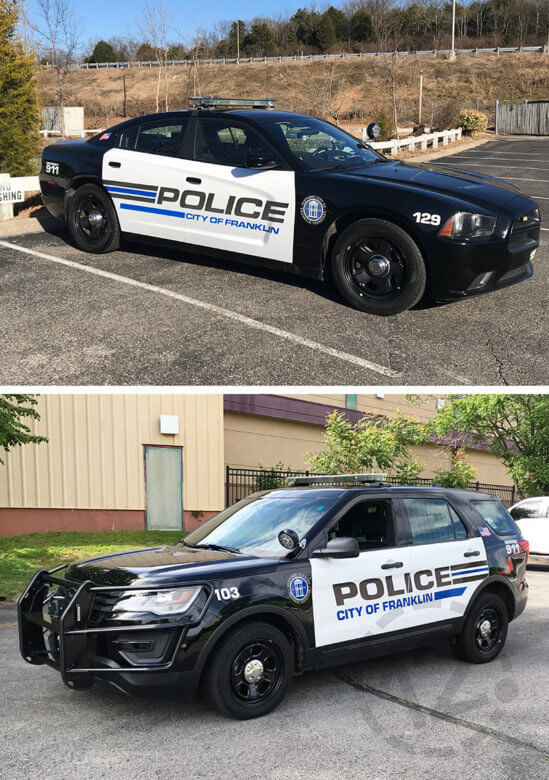 City of Franklin Police Graphics by 12-Point SignWorks in Franklin, TN.