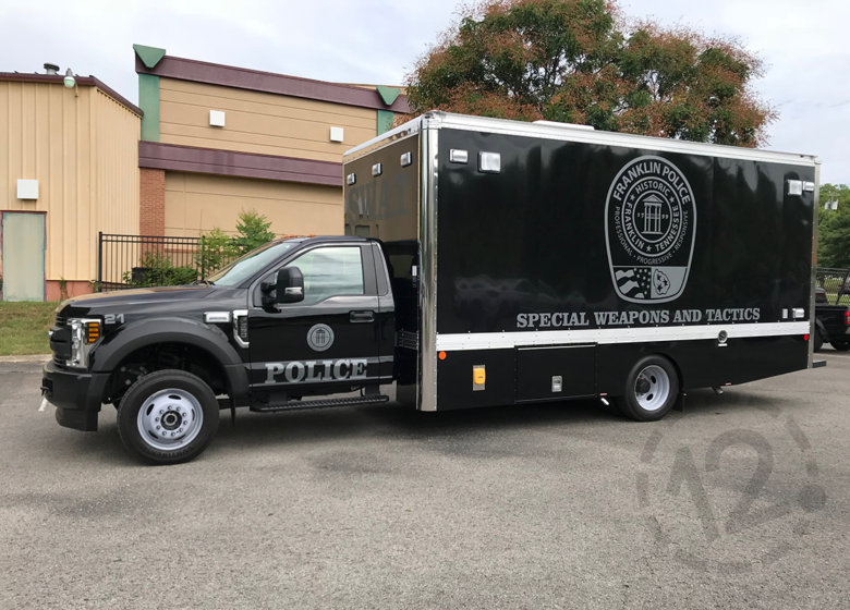 Vehicle graphics for the City of Franklin Police Department by 12-Point SignWorks in Franklin, TN.