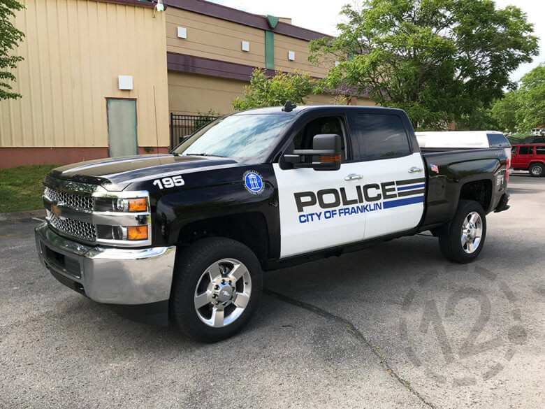 City of Franklin Police Vehicle Graphics by 12-Point SignWorks in Franklin, TN.