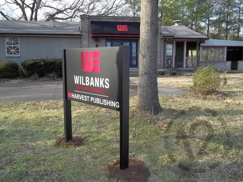 Post and panel sign for Wilbanks Entertainment by 12-Point SignWorks in Franklin, TN.