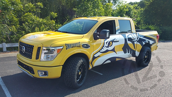 Custom wrap for Nissan North America and the Nashville Predators by 12-Point SignWorks in Franklin, TN.