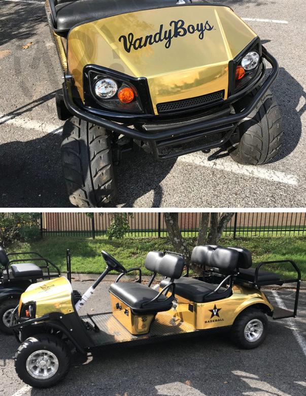 Custom golf cart wrap for Vanderbilt University Baseball by 12-Point SignWorks in Franklin, TN.