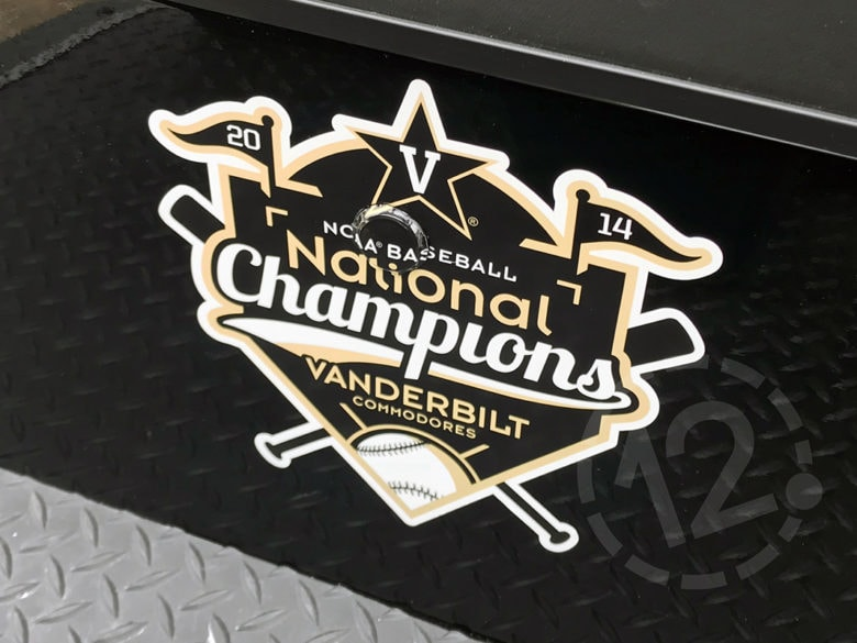 Printed decal for Vanderbilt Baseball in Nashville, TN by 12-Point SignWorks.