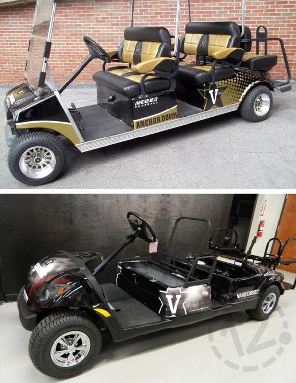 Custom golf cart wraps for Vanderbilt University Football and Basketball in Nashville, TN by 12-Point SignWorks.