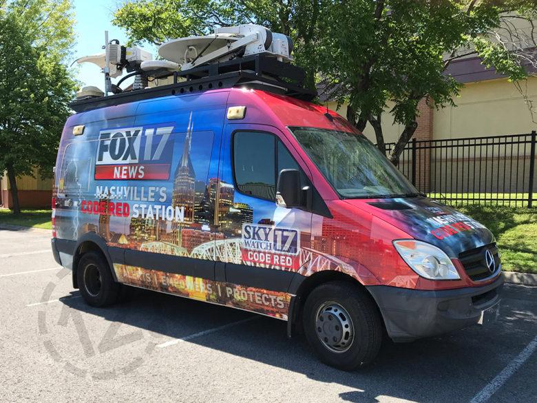 Full coverage wrap for WZTV Fox 17 in Nashville, TN by 12-Point SignWorks.