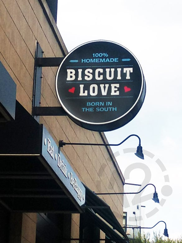 Custom sign for Biscuit Love in Nashville, TN by 12-Point SignWorks.