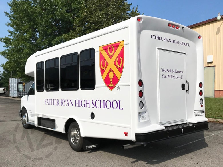 Fleet graphics for Father Ryan High School in Nashville, TN by 12-Point SignWorks.