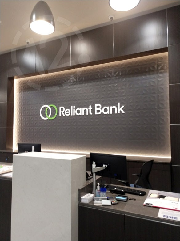 Custom logo sign for Reliant Bank by 12-Point SignWorks in Franklin, TN.
