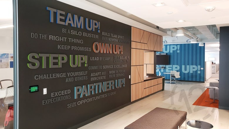 Dimensional word wall and vinyl wall mural for SF Police Credit Union fabricated and installed by 12-Point SignWorks.