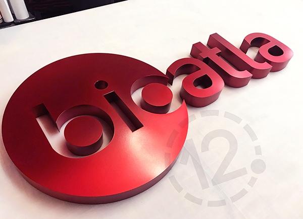 Custom logo sign for BioAtla in San Diego, CA by 12-Point SignWorks.