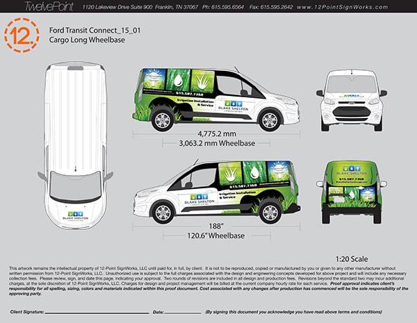 Design proof for Blake Shelton Landscaping by 12-Point SignWorks in Franklin, TN.