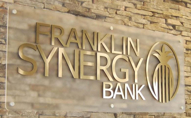 Custom Dimensional Logo Sign for Franklin Synergy Bank by 12-Point SignWorks in Franklin, TN.