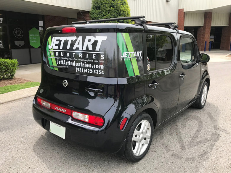Perforated window vinyl for JettArt Industries by 12-Point SignWorks in Franklin, TN.