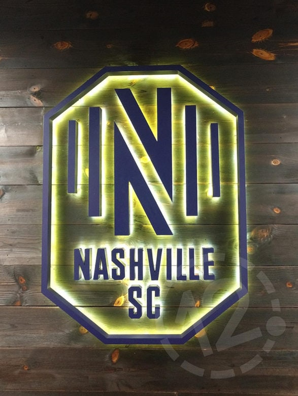 Custom lobby logo sign for the Nashville Soccer Club by 12-Point SignWorks.
