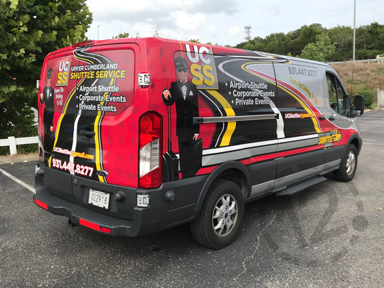 Full coverage wrap with window perf for Upper Cumberland Shuttle Service by 12-Point SignWorks in Franklin, TN.