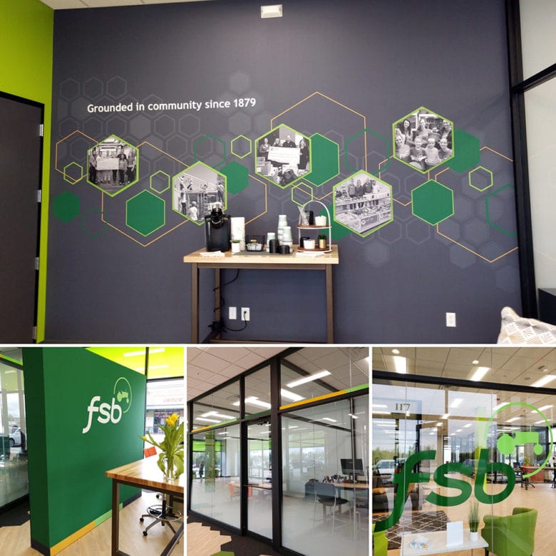 Custom environmental graphic design elements for Farmers State Bank fabricated and installed by 12-Point SignWorks.