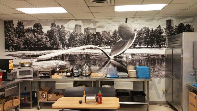 Custom wall mural for Loews Hotel in Minneapolis by 12-Point SignWorks.