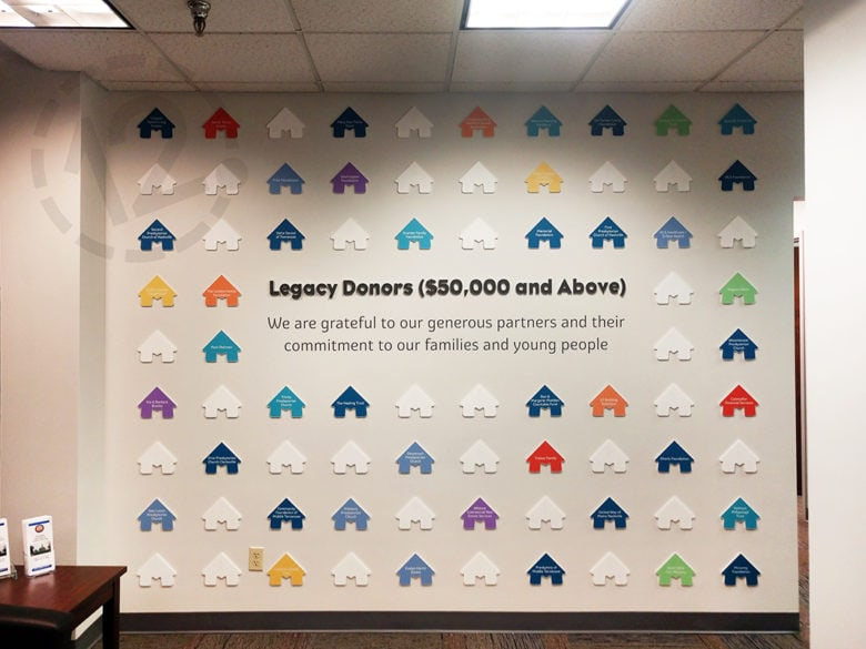 Custom donor wall for Monroe Harding in Nashville, TN by 12-Point SignWorks.