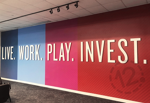 Custom wall mural for the Nashville Downtown Partnership printed and installed by 12-Point SignWorks.