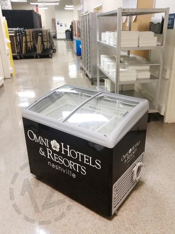 Custom freezer wrap for Omni Hotels & Resorts in Nashville by 12-Point SignWorks.
