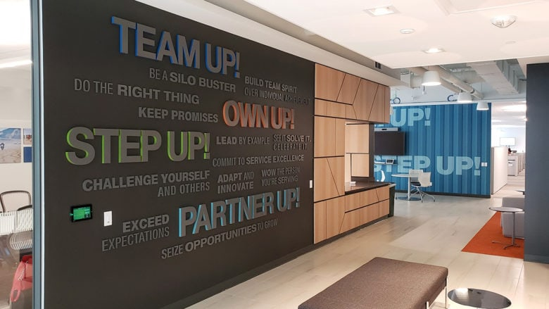 Custom environmental graphics for SF Police Credit Union fabricated and installed by 12-Point SignWorks.