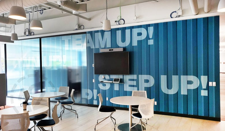 Custom office mural for SF Police Credit Union in San Bruno, CA printed and installed by 12-Point SignWorks.