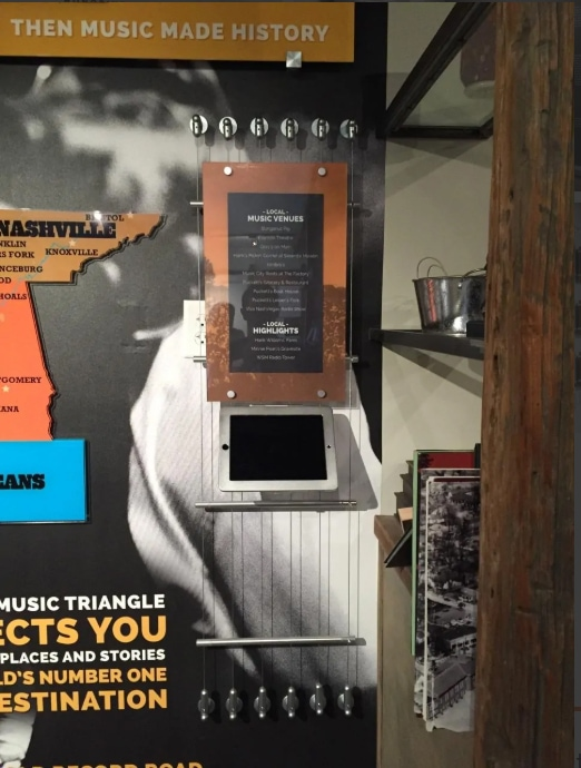 Custom architectural display for the Americana Music Triangle fabricated and installed by 12-Point SignWorks.