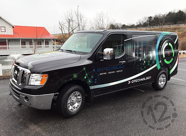 Custom advertising wrap for 3-D Technology by 12-Point SignWorks in Franklin, TN.