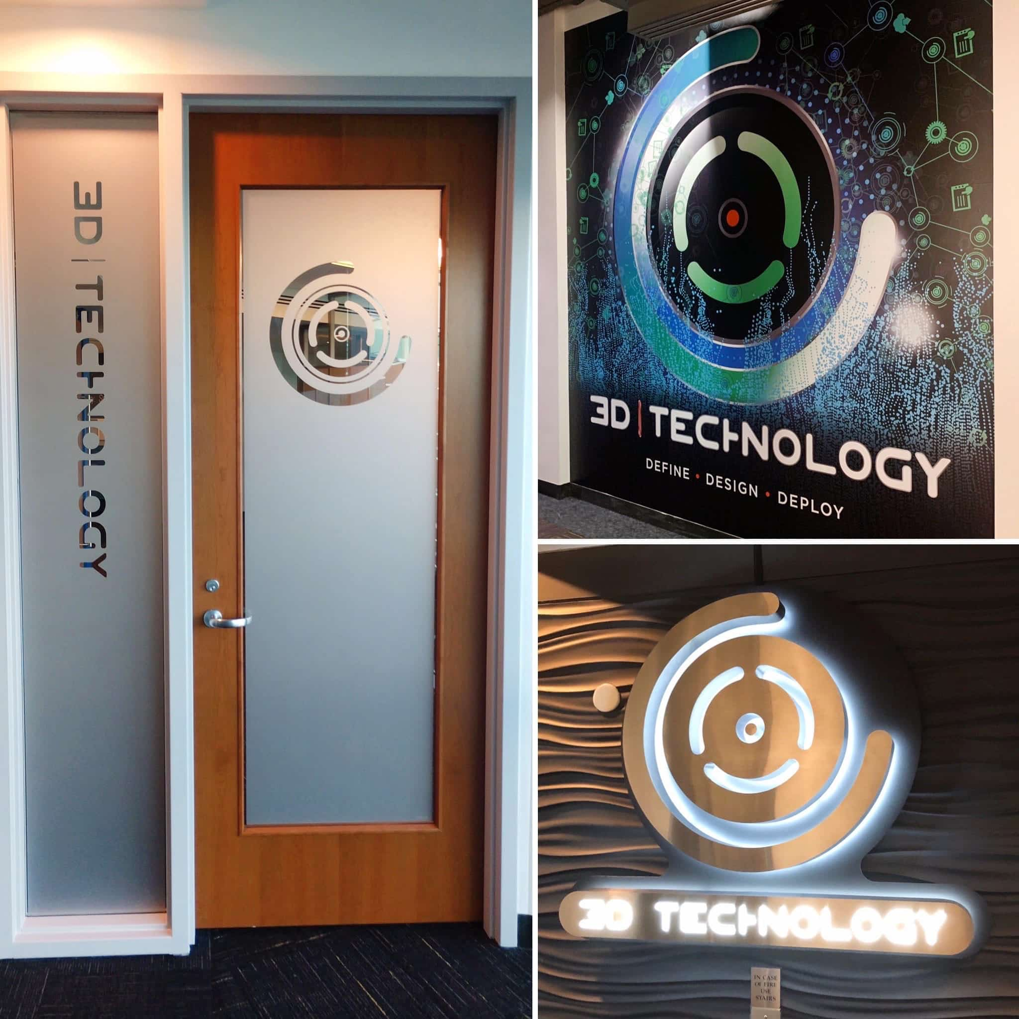 Environmental Rebrand Project for 3D Technology fabricated & installed by 12-PointSignWorks
