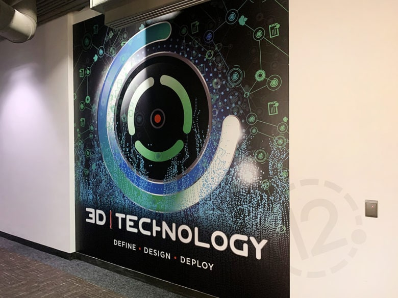 Custom wall mural for 3-D Technology by 12-Point SignWorks in Franklin, TN.
