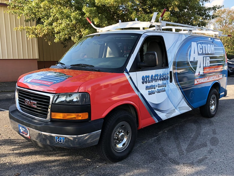 Custom fleet wrap for Action Air in Clarksville, TN by 12-Point SignWorks.