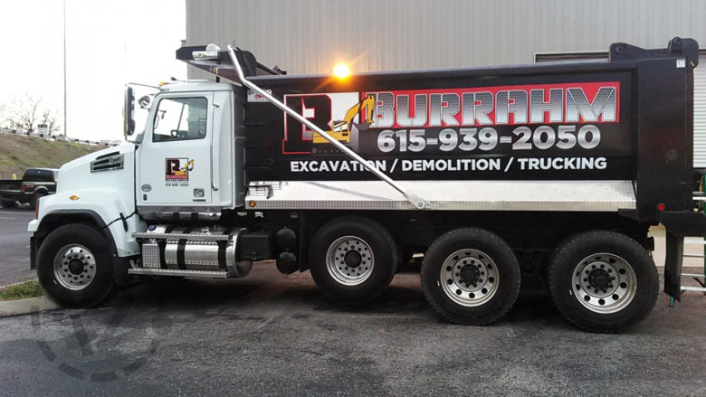 Custom vehicle graphics for Burrahm Construction by 12-Point SignWorks in Franklin, TN.