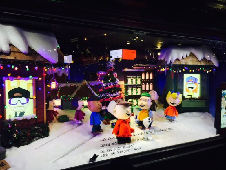 Holiday Window Display Celebrating the 50th Anniversary of 'A Charlie Brown Christmas.'