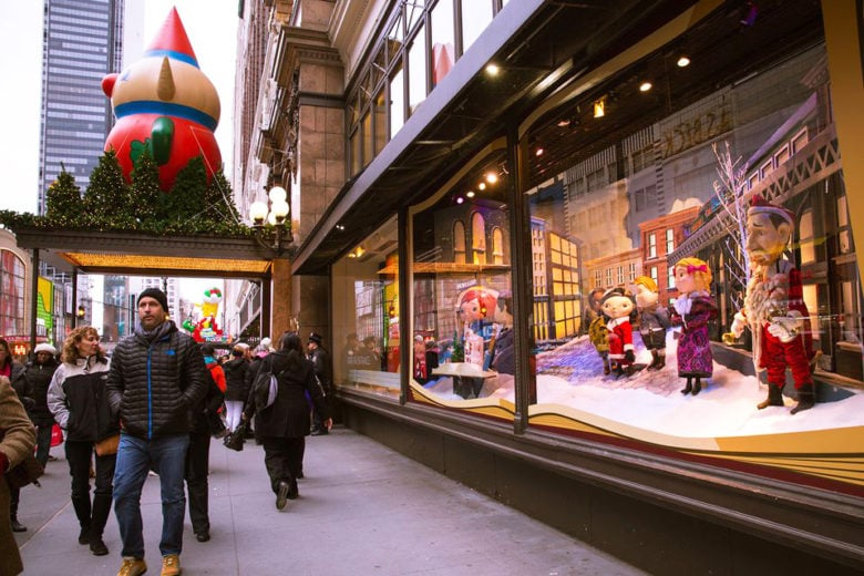 Holiday window display in New York City.