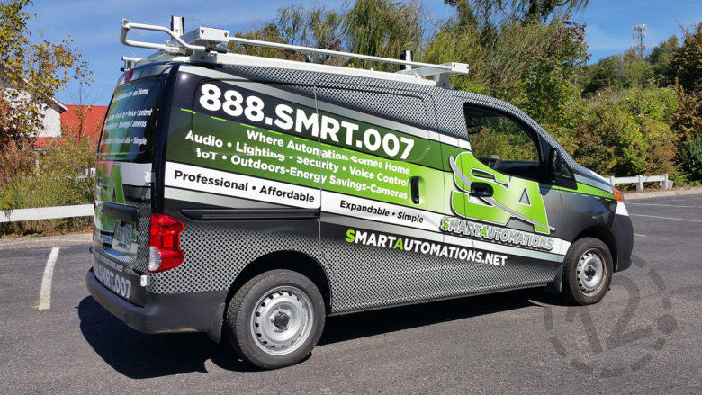 Custom van wrap for Smart Automations by 12-Point SignWorks in Franklin, TN.