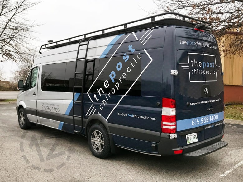 Custom vehicle advertising wrap for The Post Chiropractic by 12-Point SignWorks in Franklin, TN.