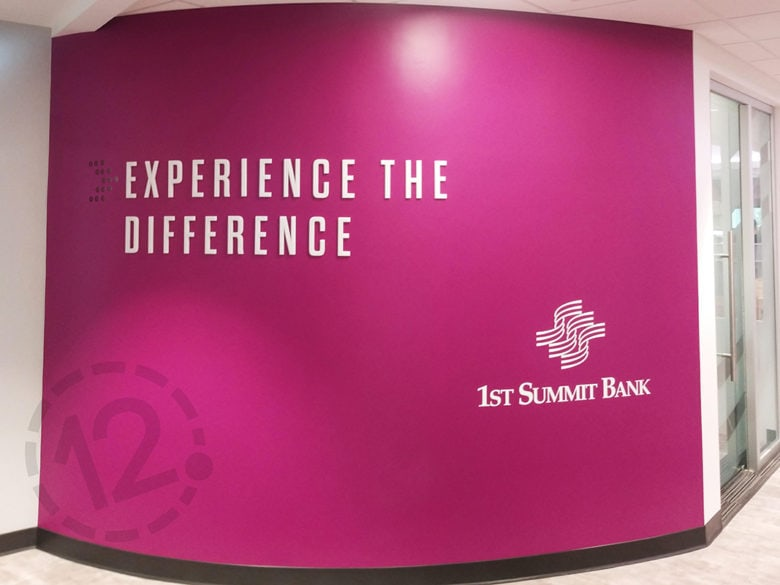 Dimensional acrylic letters and contour cut vinyl for 1st Summit Bank in Johnstown, PA installed by 12-Point SignWorks.
