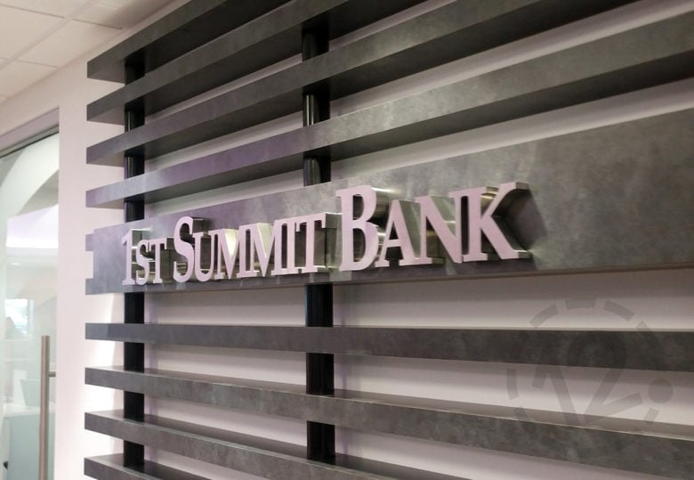 Custom brushed metal lettering for 1st Summit Bank in Johnstown, PA installed by 12-Point SignWorks.