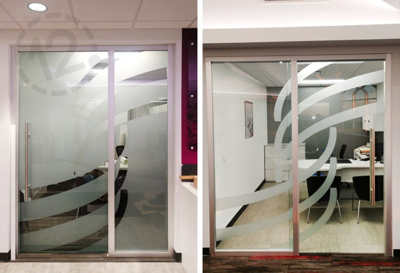 Custom etched vinyl for 1st Summit Bank in Johnstown, PA cut and installed by 12-Point SignWorks.