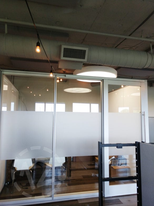 Frosted window film for the Nashville Soccer Club installed by 12-Point SignWorks.