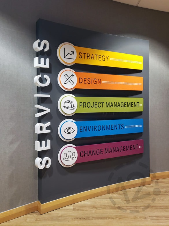 Custom wall display for NewGround in St. Louis, MO fabricated and installed by 12-Point SignWorks.