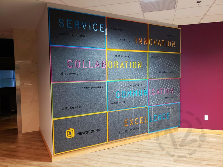 Custom Values Wall Display for NewGround in St. Louis, MO by 12-Point SignWorks.