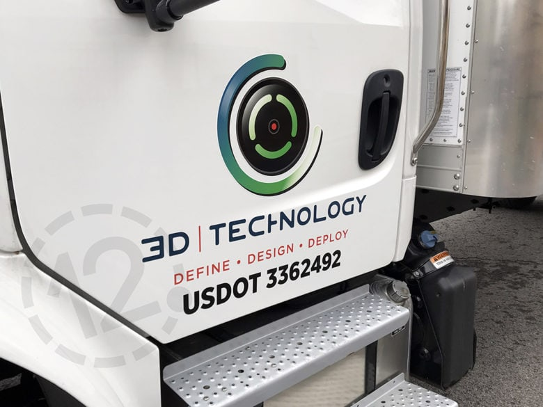 Custom vehicle graphics for 3-D Technology by 12-Point SignWorks in Franklin, TN.
