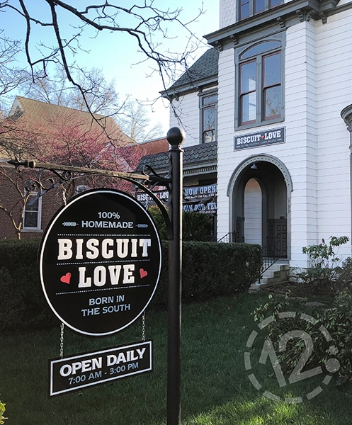 Custom dimensional logo sign for Biscuit Love in Franklin, TN fabricated and installed by 12-Point SignWorks.