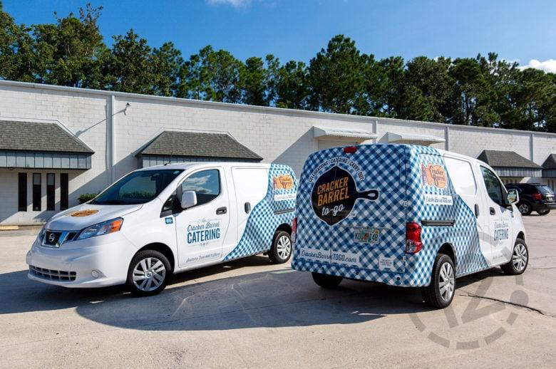 Custom fleet wraps for Cracker Barrel Catering by 12-Point SignWorks.